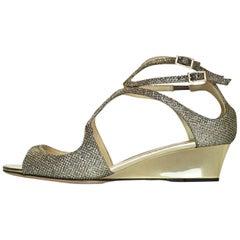 Jimmy Choo Gold Inka Lame Glitter Demi-Wedge Sandals Sz 36