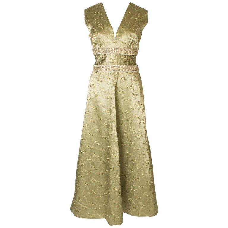 6c86c8dc251 A Vintage 1960s Sage Green embroidered evening Gown For Sale at 1stdibs