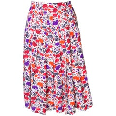 A vintage 1980s floral printed pleated numbered Skirt by Jean Louis Scherer