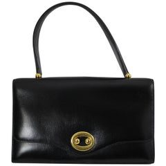 """60's Vintage Hermes Bag """"Boutonniere"""" in Black Box leather"""