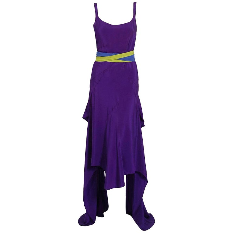 1930's French Couture Purple Silk Bias-Cut Tiered Trains Backless Deco Dress