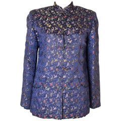 A Vintage 1950s embroidered floral Chinese Blue Silk Jacket
