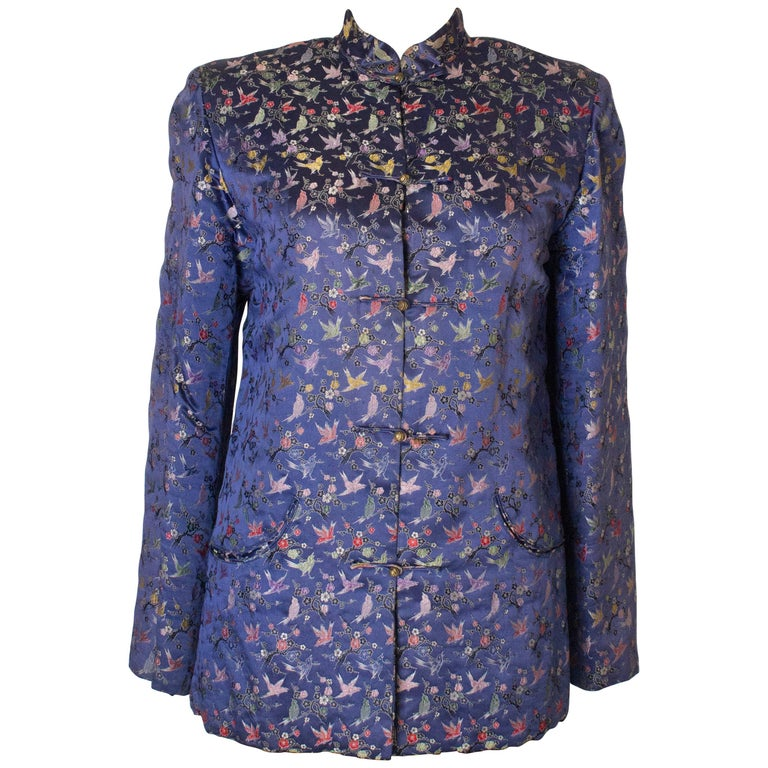 A Vintage 1950s Embroidered Floral Chinese Blue Silk