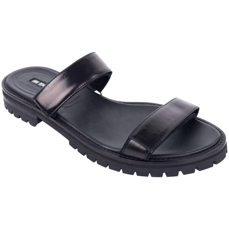 Ann Demeulemeester Black Leather Velcro Strap Sandals