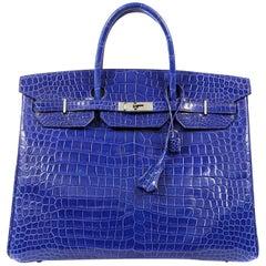 Hermès Blue Electrique Porosus Crocodile 40 cm Birkin Bag- Palladium HW