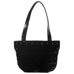 Giorgio Armani Black Velvet & Crystal Tote Bag