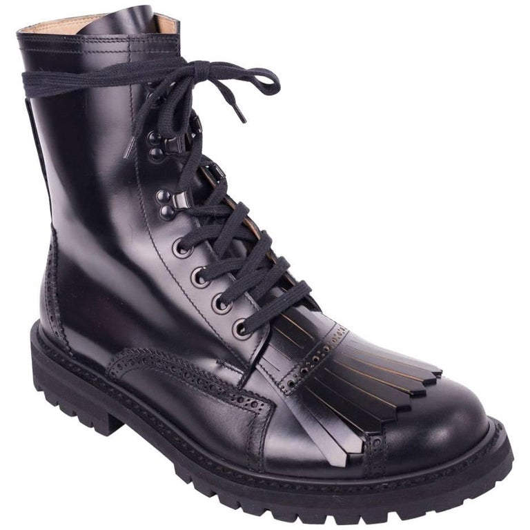 Dries Van Noten Mens Black Fringed Brogue Combat Boots