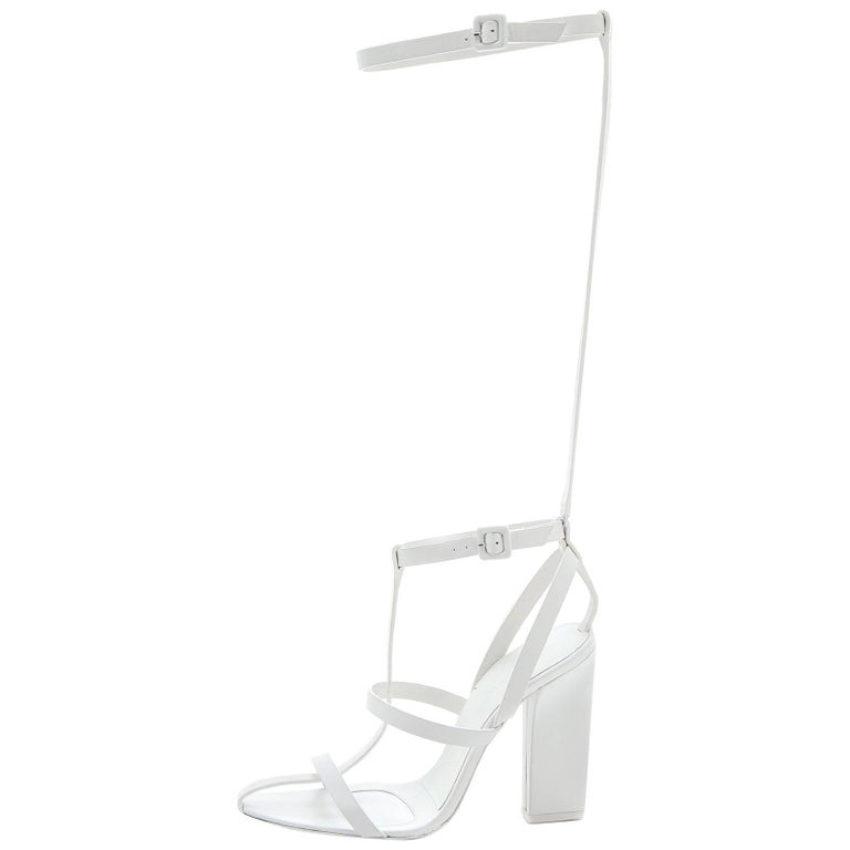 Alexander Wang White Leather Strappy Sandals Sz 36.5 with DB