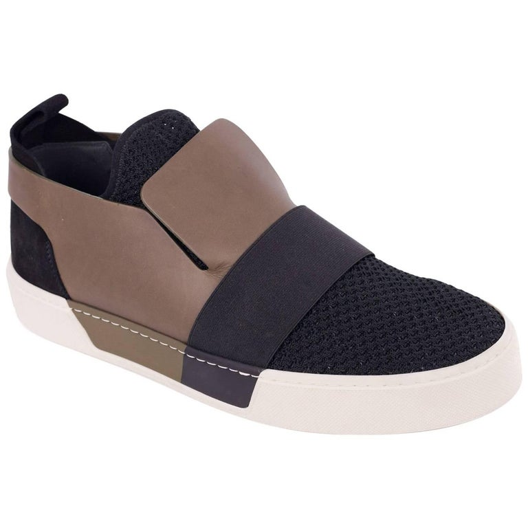 Balenciaga Mens Black Olive Mesh Leather Slip On Sneakers