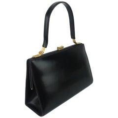 Lancel Black Leather Handbag With Buckle Handle, 1950s