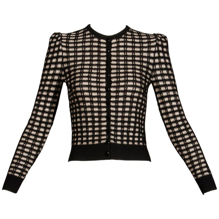 1970s St. John Vintage Knit Metallic Gold + Black Button Up Cardigan Sweater Top