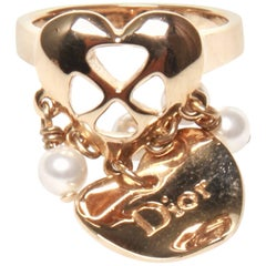 Christian Dior Heart and Pearl Charm Ring