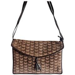 Vintage Bottega Veneta brown suede leather square shoulder bag with butterfly.