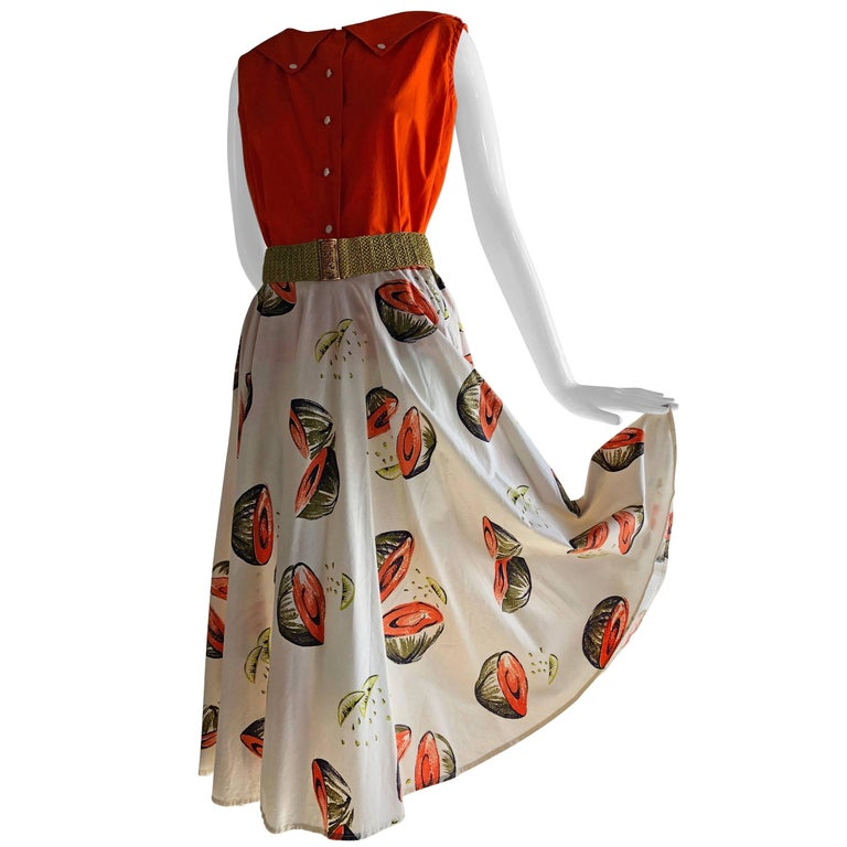 1950s Novelty Sportswear Print Circle Skirt & Coordinating Color Cotton Top