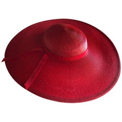 Bellini Original Red Milanese Straw Saucer-Shaped Hat, 1980s