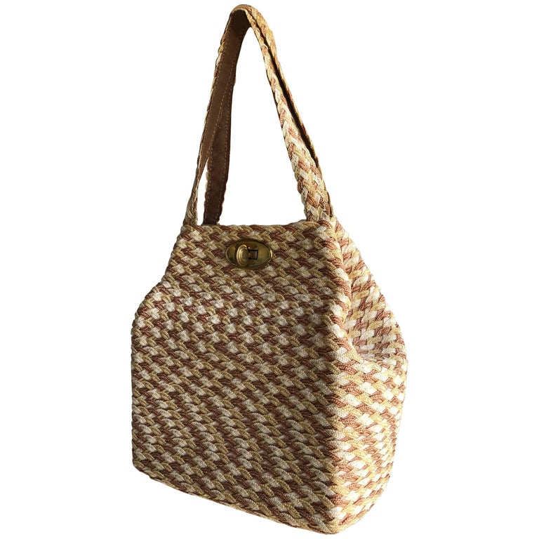 Tri Tone Straw Woven Square Structured Handbag With Brass Toggle Closure 1950s For