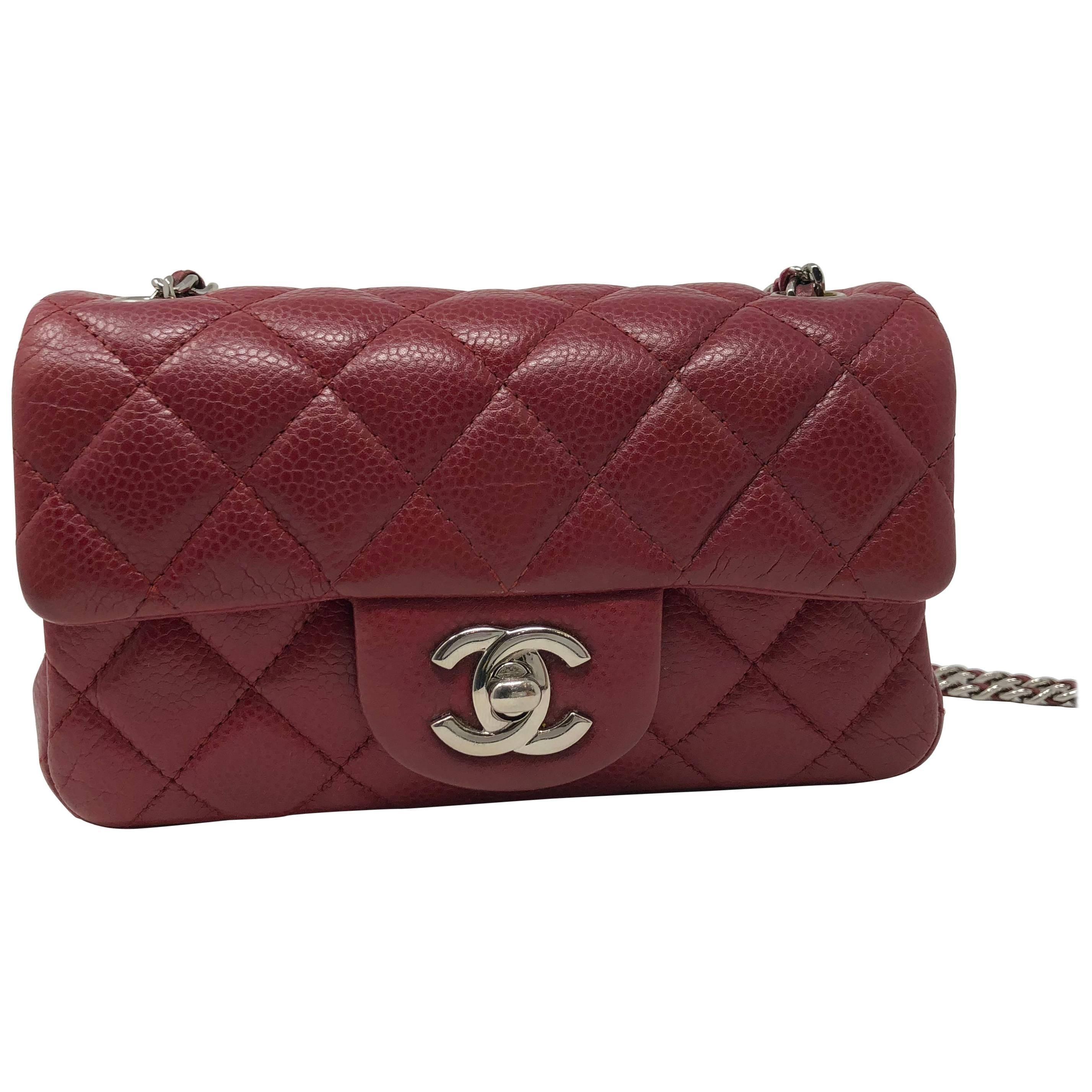 2fe11cd9baa8 Red Chanel Mini Mini Leather Crossbody Bag at 1stdibs