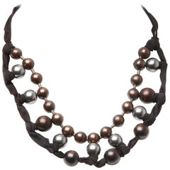 Lanvin Fabric Beaded Necklace