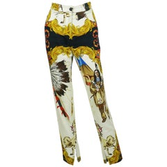 Gianni Versace Couture Native American Print Cotton Denim Jeans, F / W 92 / 93