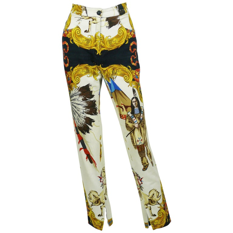 Gianni Versace Couture Native American Print Cotton Denim Jeans, F / W 92 / 93
