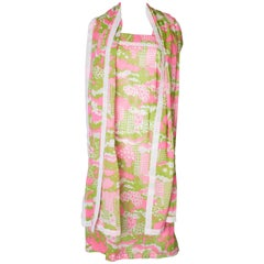 A Vintage 1960s abstract printed Sundress and Matching Scarf
