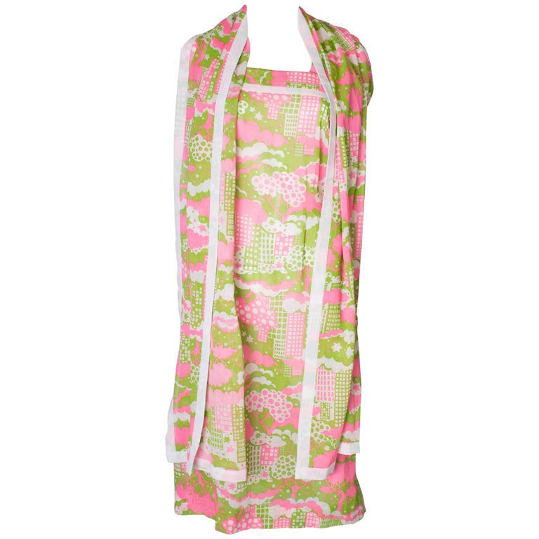 A Vintage 1960s abstract printed Sundress and Matching Scarf For Sale