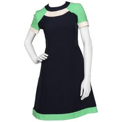 A rare 60s Vintage Pierre Cardin Navy Wool Space Age Dress S