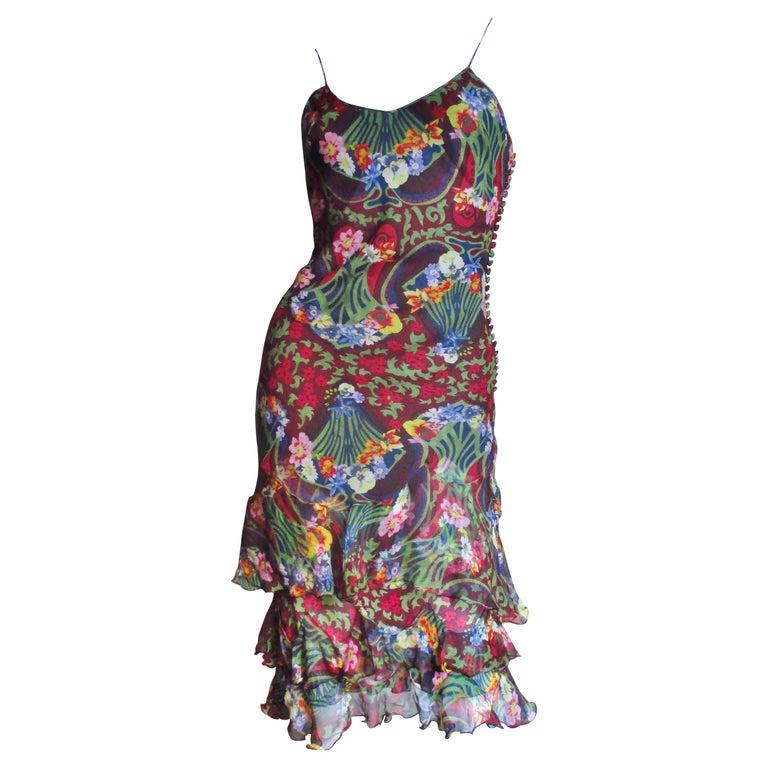 1990s Christian Dior Silk Flounce Hem Silk Dress