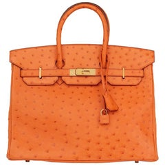Hermes Orange H Ostrich 35cm Birkin Bag