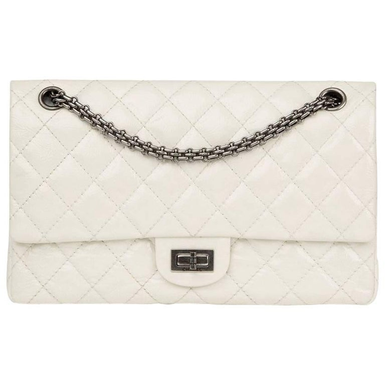b1c88e0c4164 Chanel White Patent Leather 2.55 Reissue 226 Double Flap Bag at 1stdibs
