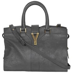 YSL Yves Saint Laurent Grey Leather Small Cabas ChYc Satchel Bag