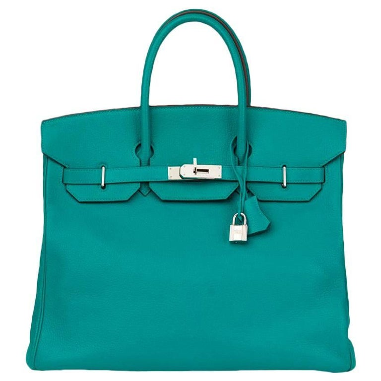 Hermes Blue Paon Chevre Mysore Leather 36cm HAC Birkin Bag