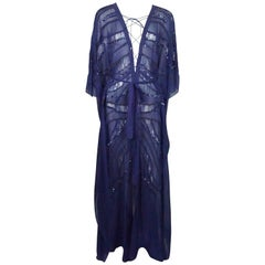 Roberto Cavalli Blue Cotton/ Silk Beaded Caftan - 38
