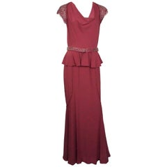 Luca Luca Cranberry Silk and Beaded Lace Gown - 44