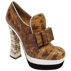 Miu Miu Stamped Snake Skin Leather Bow Platform Booties