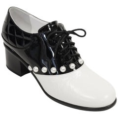 Chanel Black and White Patent Leather Pearl Oxfords, 2014