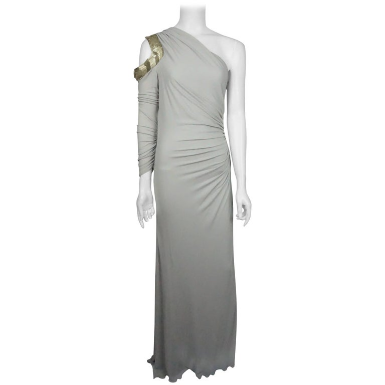 Roberto Cavalli Grey Silk Jersey One Shoulder Beaded Gown - 42 For Sale
