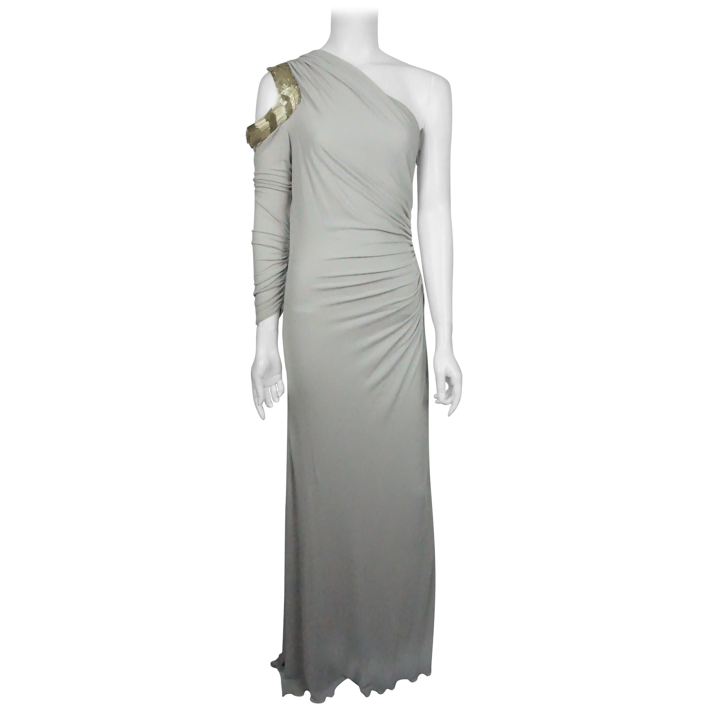 Roberto Cavalli Grey Silk Jersey One Shoulder Beaded Gown - 42