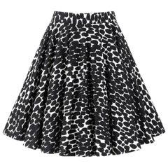 GUCCI Resort 2008 Black & White Abstract Polka Dot Knee Length Circle Skirt
