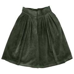 Mario Valentino Pine Green Italian Suede Skirt, 1970s