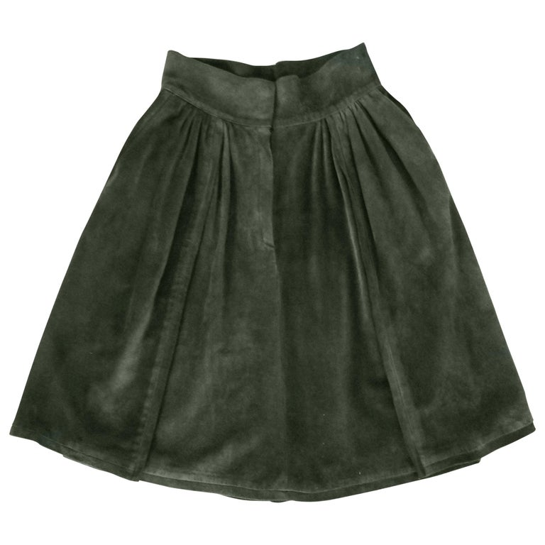 Mario Valentino Pine Green Italian Suede Skirt, 1970s  For Sale