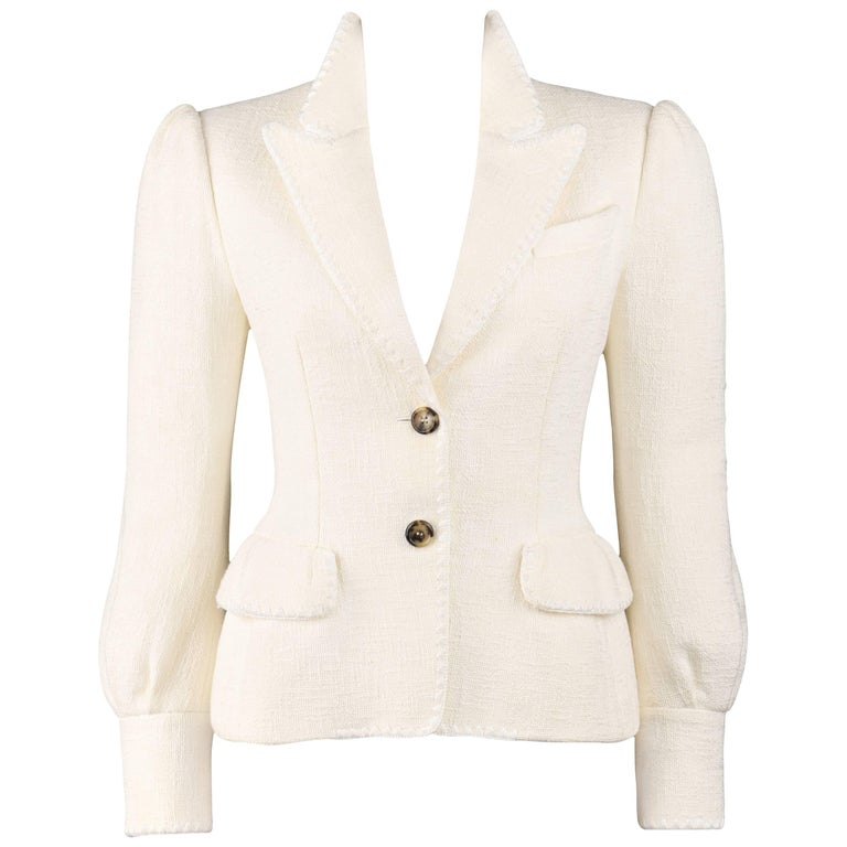 YVES SAINT LAURENT A/W 2005 YSL Off White Tweed Peak Lapel Collar Blazer Jacket
