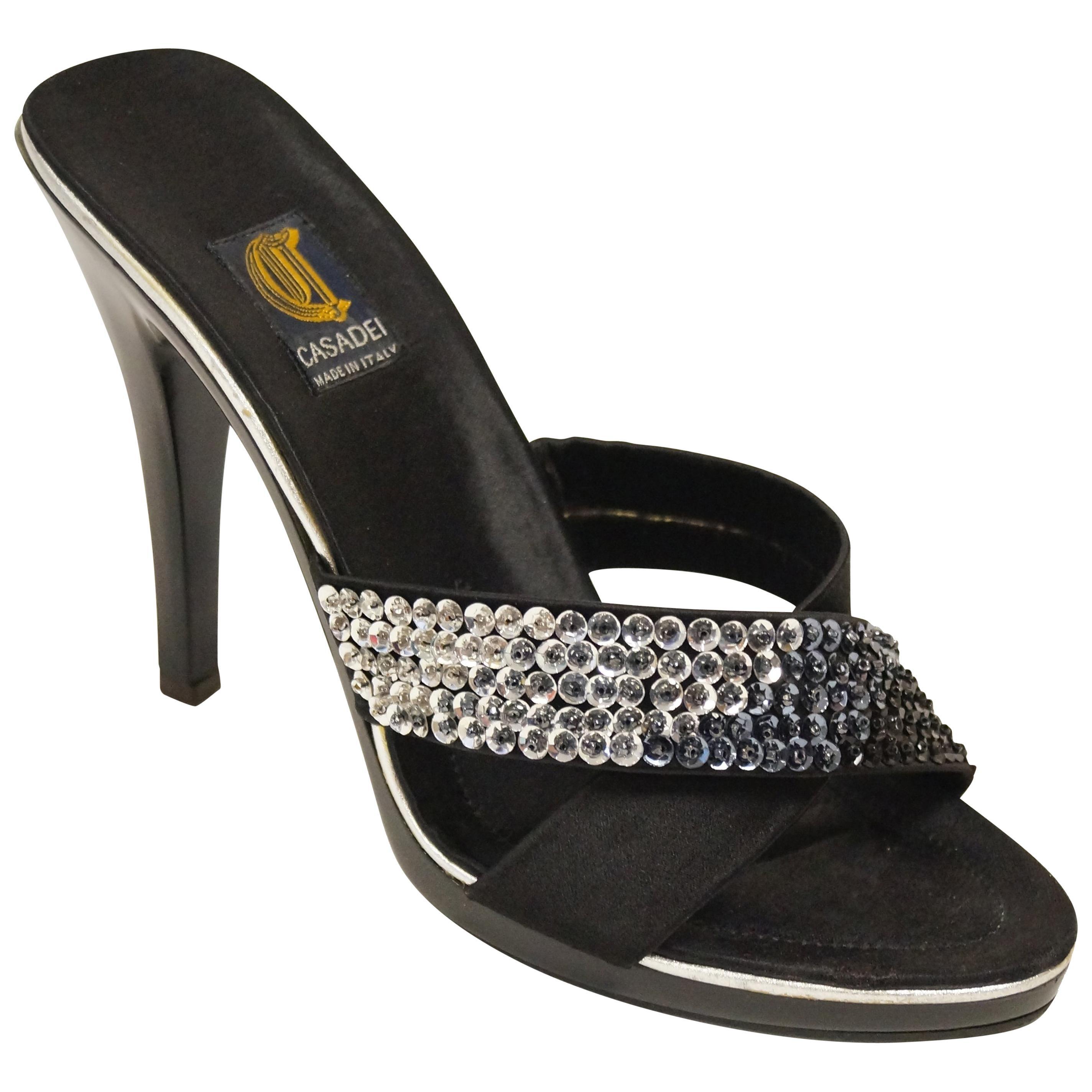 Casadei Black Satin and Sequin Strappy Sandals