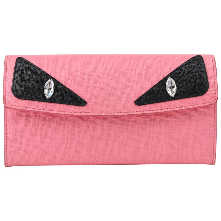"FENDI c.2015 Pink & Black Saffiano Leather Monster Eye ""Simply Wallet"" Clutch"