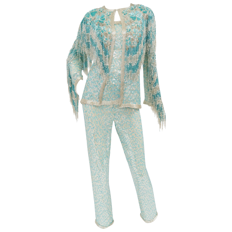 1980s Naeem Khan Silk Aqua Sequin & Beading Evening Ensemble W/ Tassel Jacket 6