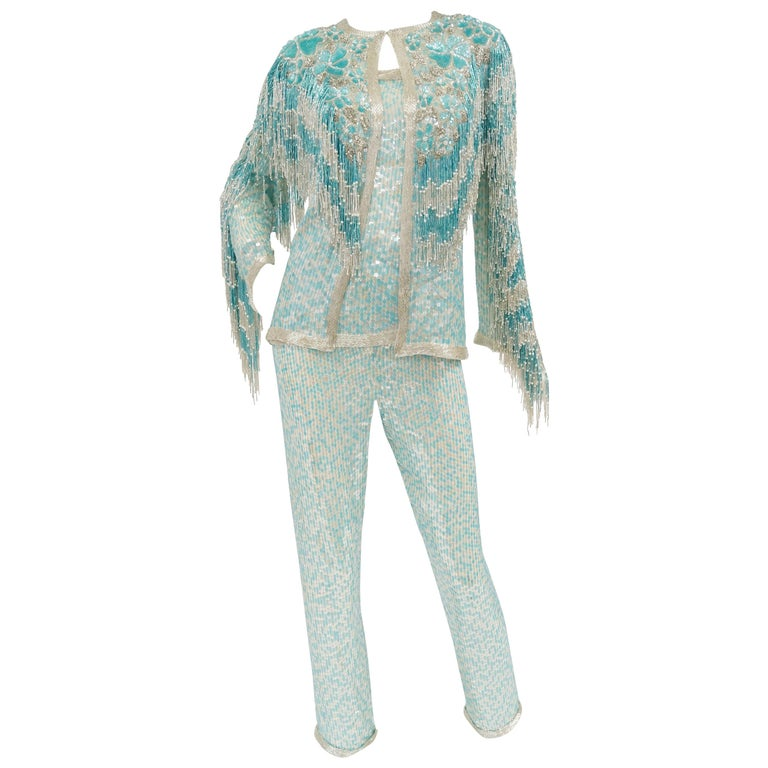 1980s Naeem Khan Silk Aqua Sequin & Beading Evening Ensemble W/ Tassel Jacket 6 For Sale