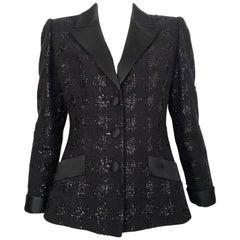 Richard Carriere Paris 1980s Black Mohair Tuxedo Jacket Size 6.
