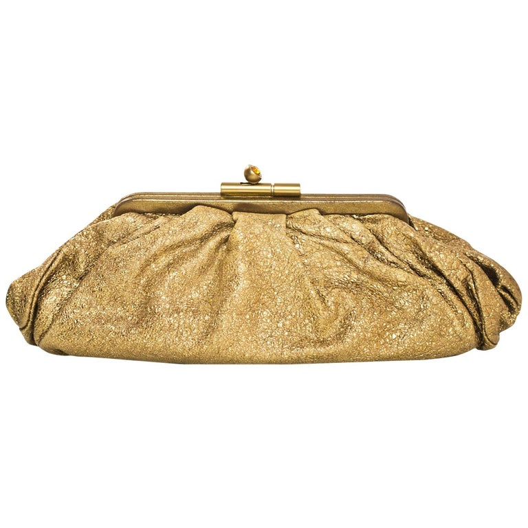 Chanel Gold Crackled Leather Clutch Bag with Box & Dust Bag