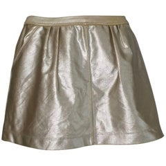 Tomas Maier Gold Lycra Miniskirt with Pockets Size 4, made in Italy