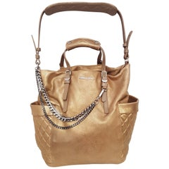 Jimmy Choo Copper Tone Blare Leather Tote with Buckled Handles & Shoulder Strap